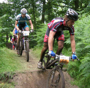 mountainbikers, actiefoto